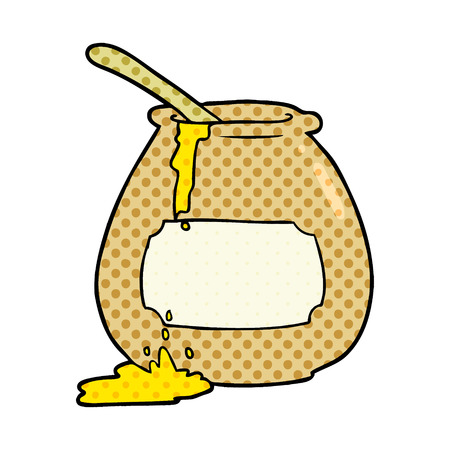 A cartoon honey pot isolated on white background