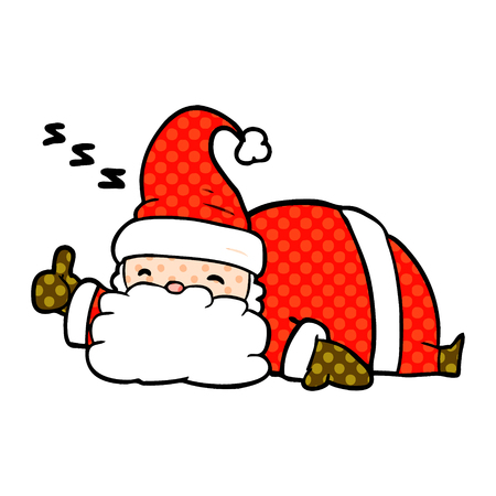 A cartoon sleepy santa giving thumbs up symbol isolated on white background