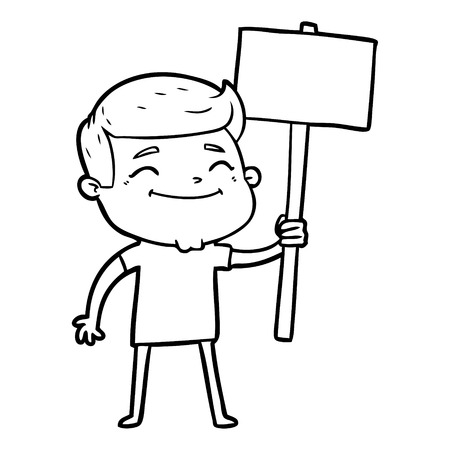 A happy cartoon man with placard isolated on white background