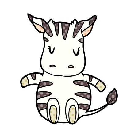 A cute cartoon zebra isolated on white background
