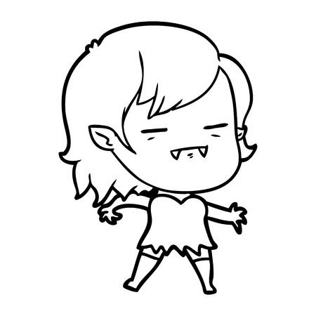 A cartoon un-dead vampire girl isolated on white background Standard-Bild - 95653732