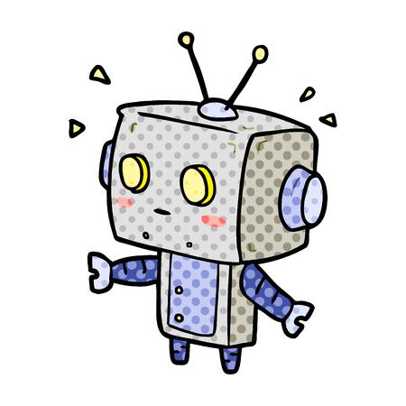 Ein niedlicher Cartoon überrascht Roboter isoliert auf weißem Hintergrund Standard-Bild - 95653749