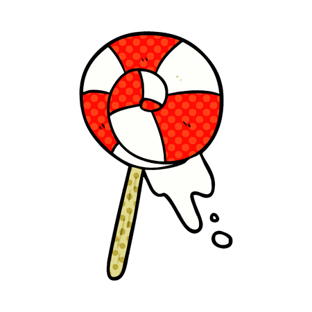 A cartoon traditional lollipop isolated on white background