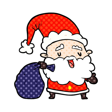A cartoon Santa Claus carrying sack of presents Illustration