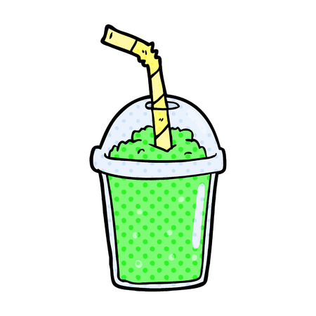 A cartoon iced smoothie isolated on white background