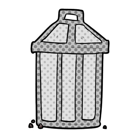 A cartoon old metal garbage can isolated on white background