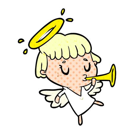 白い背景に隔離されたかわいい漫画の天使