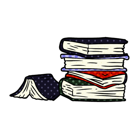 A cartoon pile of books isolated on white background