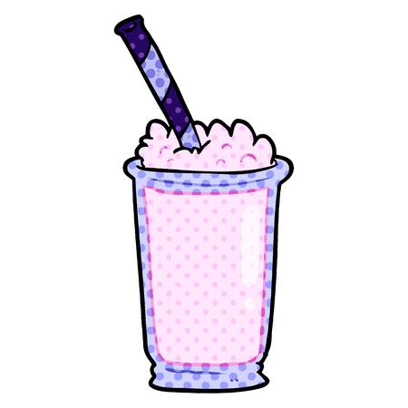 白い背景に隔離された漫画のミルクセーキ