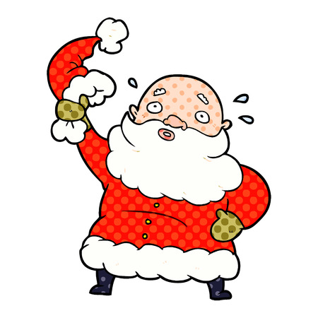 A cartoon Santa Claus waving his hat isolated on white background