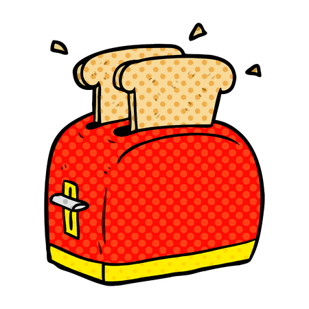 A cartoon toaster toasting bread isolated on white background