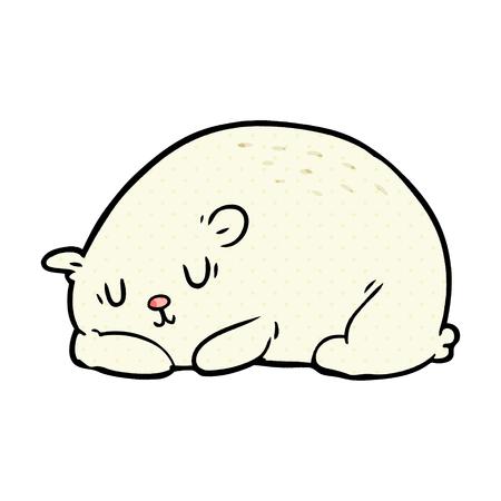 A cartoon sleepy polar bear isolated on white background Illustration