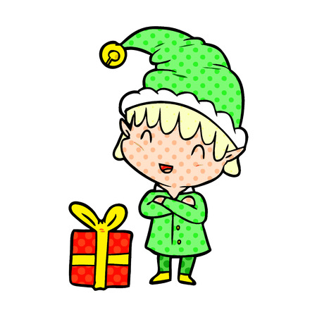 cartoon happy christmas elf
