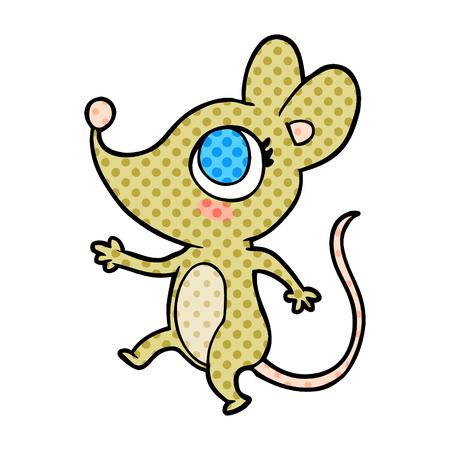 Eine niedliche Cartoon-Maus isoliert auf weißem Hintergrund Standard-Bild - 95653796