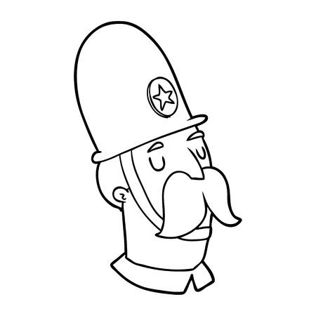 白い背景に孤立した口ひげを持つ漫画の警官