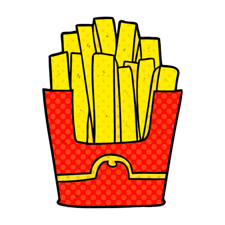A cartoon junk food fries isolated on white background Illustration