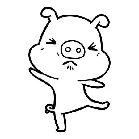cartoon furious pig Illustration