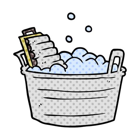cartoon old laundry washboard and bucket Stock Vector - 95640173