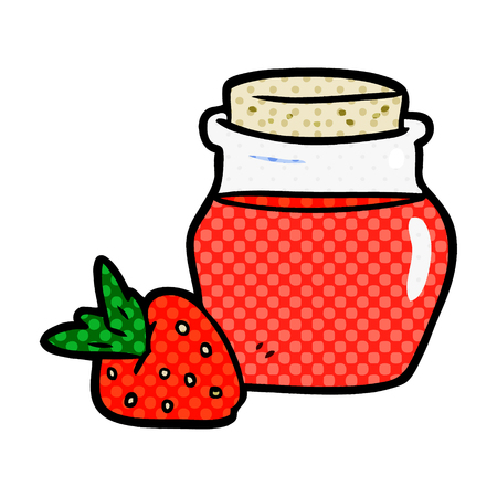 A cartoon jar of strawberry jam isolated on white background