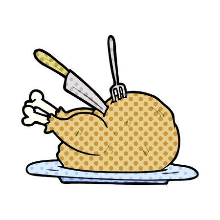 cartoon cooked turkey being carved Illustration