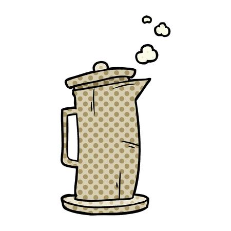 흰색 배경에 고립 된 만화 오래 된 스타일 주전자