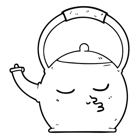 A cartoon kettle isolated on white background 写真素材 - 95653851