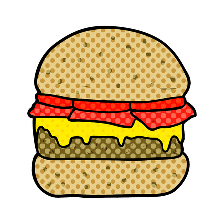 A cartoon stacked burger isolated on white background
