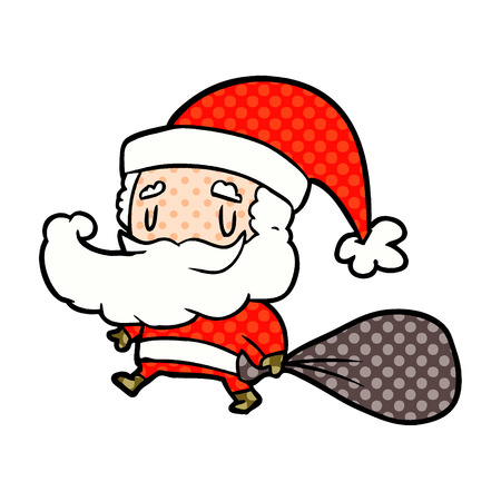 A cartoon Santa Claus carrying sack of presents isolated on white background