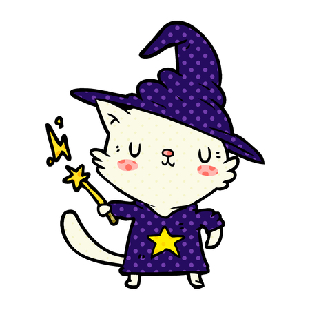 A magical amazing cartoon cat wizard isolated on white background