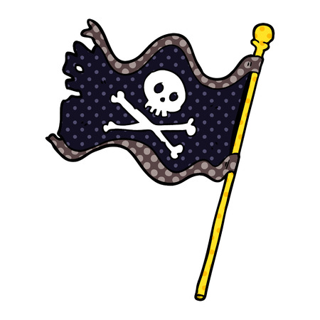 A cartoon pirate flag isolated on white background