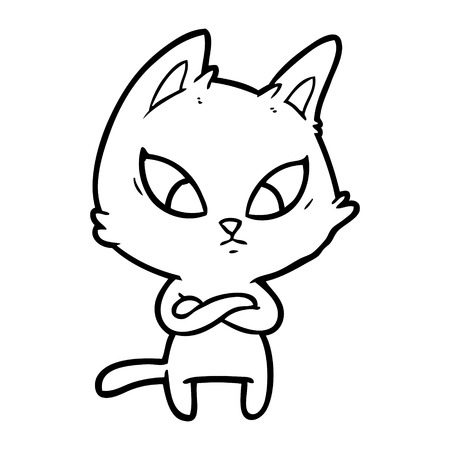 A  confused cartoon cat isolated on white background