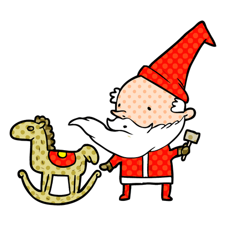 A cartoon Santa (or elf) making a rocking horse isolated on white background Illustration