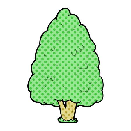 白い背景に隔離された漫画の背の高い木