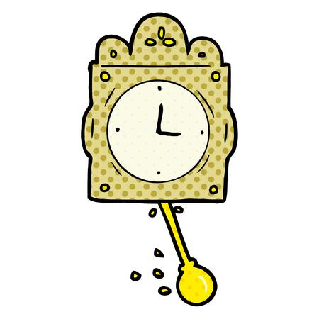 白い背景に隔離された振り子を持つ漫画のカチカチ時計  イラスト・ベクター素材