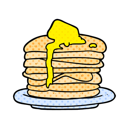A cartoon stack of pancakes isolated on white background