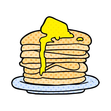 Een cartoon stapel pannenkoeken geïsoleerd op een witte achtergrond