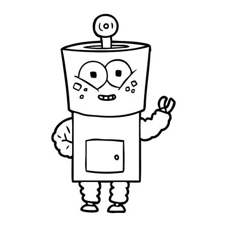 happy cartoon robot waving hello Standard-Bild - 95640218