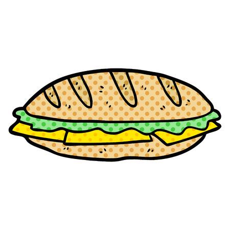 白い背景に隔離された漫画のチーズサンドイッチ