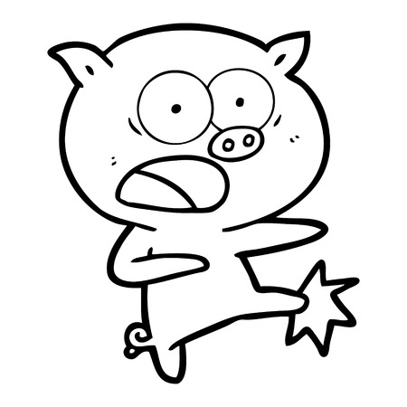 A cartoon pig shouting and kicking isolated on white background