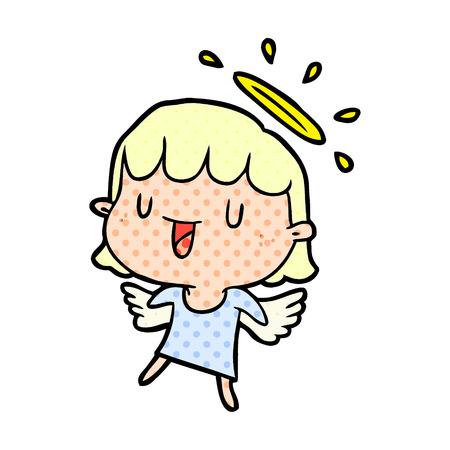 Ein niedlicher Cartoon Engel isoliert auf weißem Hintergrund Standard-Bild - 95654295