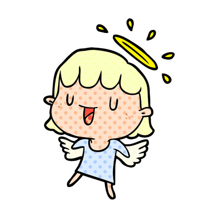A cute cartoon angel isolated on white background Illustration