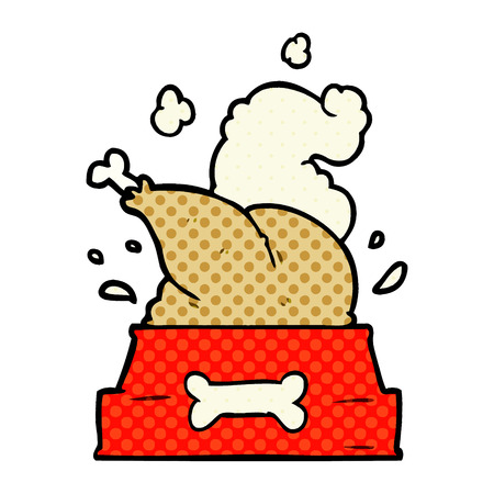 A cartoon whole cooked turkey crammed into a dog bowl for a happy Christmas pup Banque d'images - 95654345