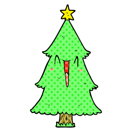 A cartoon Christmas tree isolated on white background