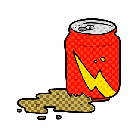 A cartoon can of soda isolated on white background
