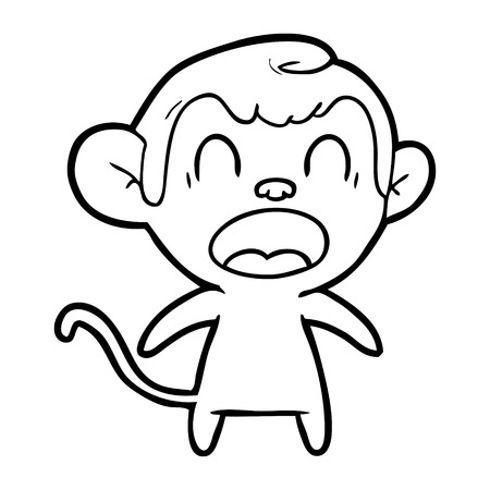 A shouting cartoon monkey isolated on white background