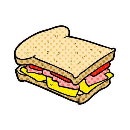 白い背景に隔離された漫画ハムチーズトマトサンドイッチ
