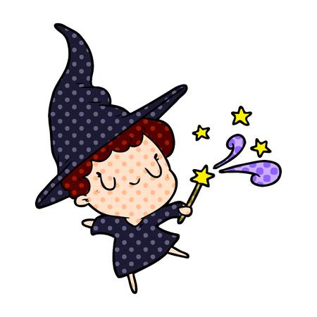 A cute cartoon witch casting spell isolated on white background