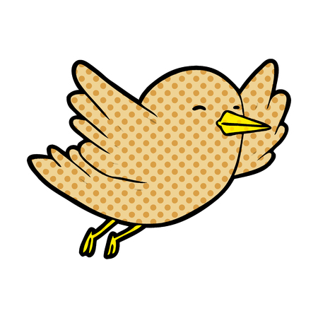 A cartoon bird flying isolated on white background Illustration