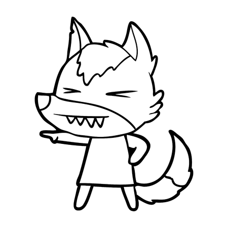Angry wolf cartoon isolated on white background