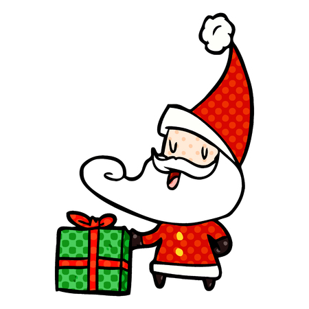 A cartoon Santa Claus isolated on white background Banque d'images - 95654563